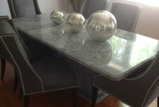 Super White Quartzite Dining Room Table with Pedestal