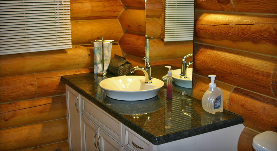 Suede Brown Granite with Vessel Sink