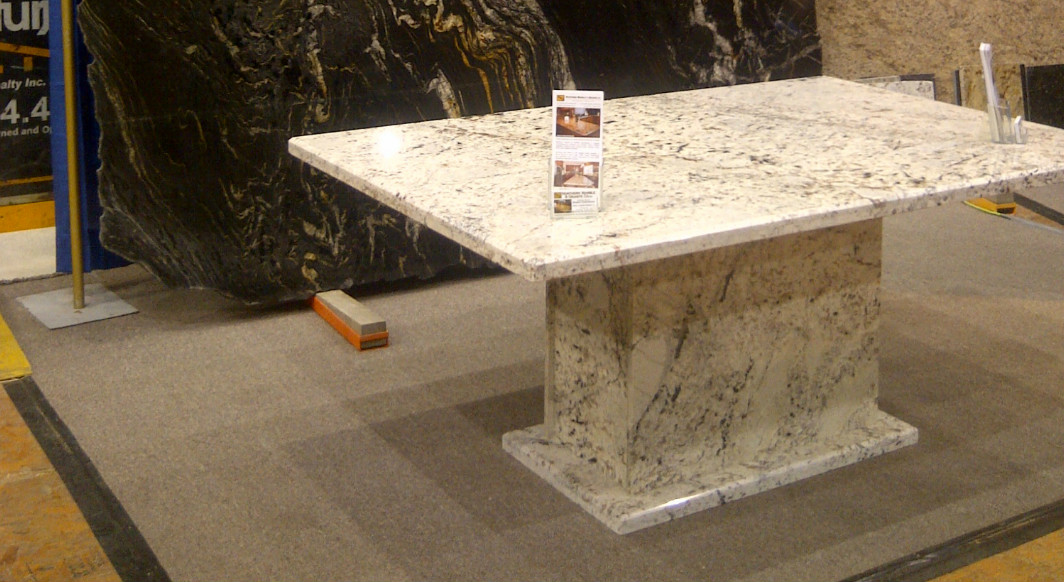 White Galaxy Table with Matching Pedestal Base and Bevel Edge Profile
