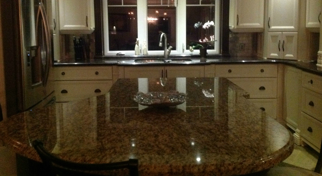 Giallo Ornamental and Suede Brown Granite with Ogee Edge Profile