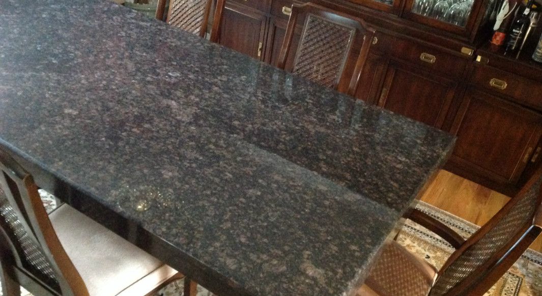 Tan Brown with Bevel Edge Dining Room Table CAP