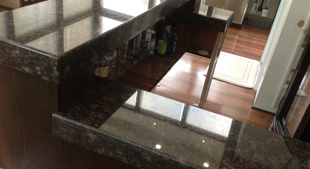 Tan Brown Granite Bar with Bevel Drop Edge