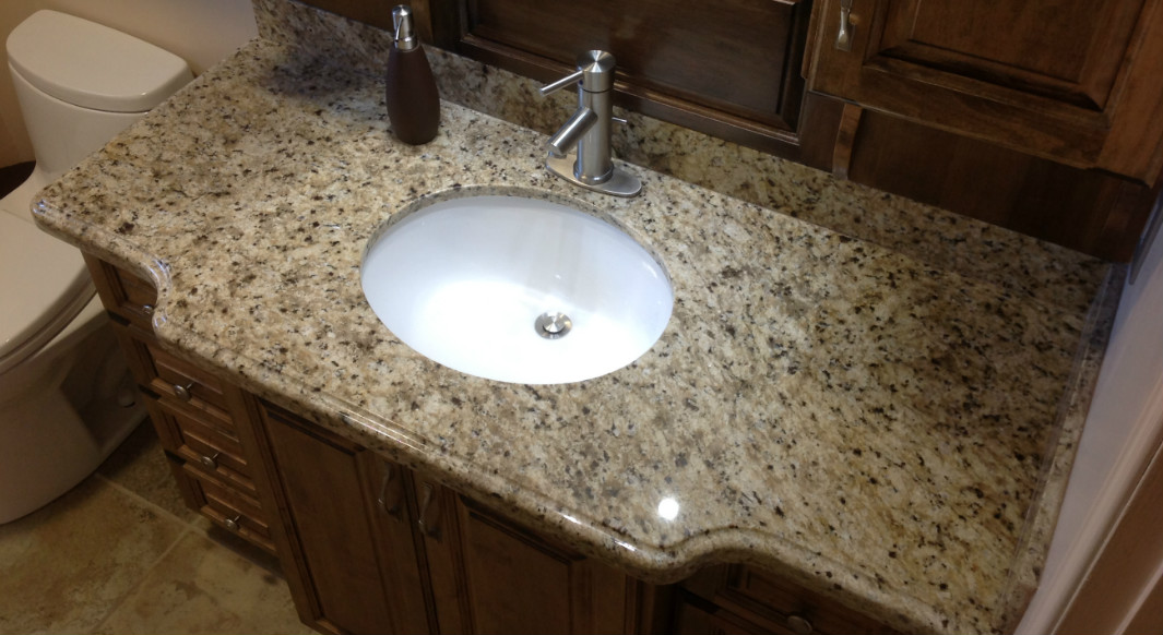 New Venetian Gold Vanity Top with Ogee Edge Profile