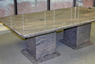 Paradiso Granite Table - Waterfall Edge Profile and Matching Pedestal Base