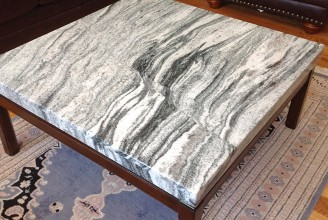 "Silver Cloud Granite - Mitred Drop Edge ""Cap"" Coffee Tabletop"