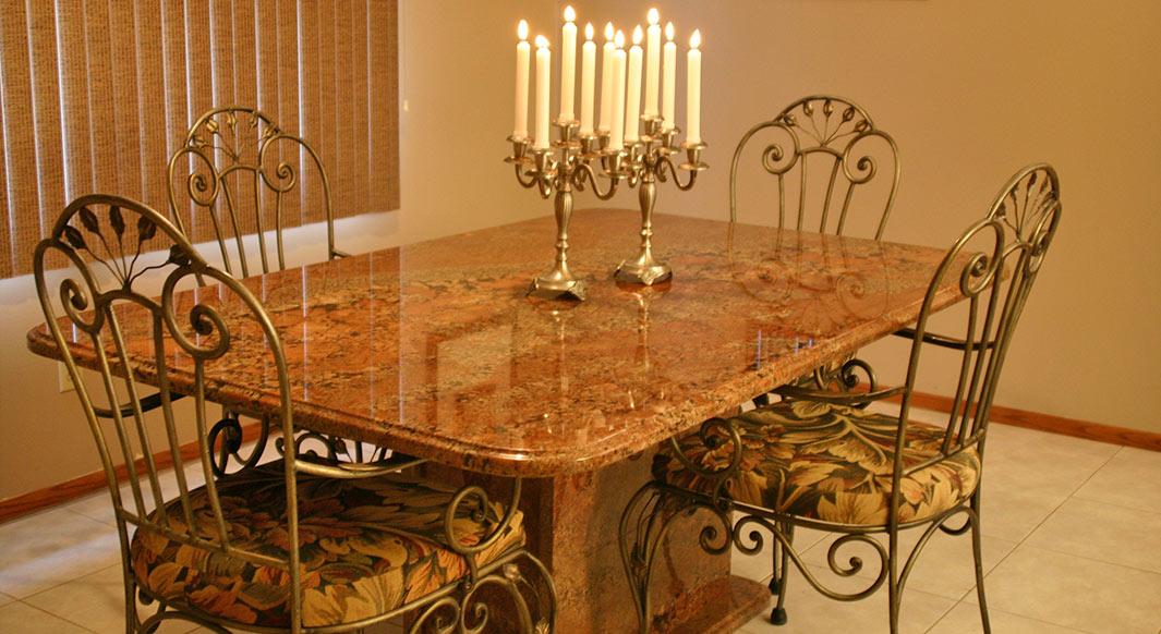 Juperana Bordeaux Granite Table with Matching Pedestal Base