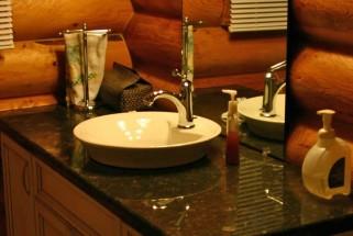 Suede Brown Granite with Vessel Sink