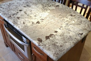 Bianco Alaska Granite with Waterfall Edge Profile