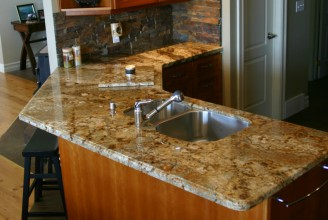 Golden Crystal Granite with Ogee Edge Profile