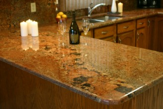Juperana Bordeaux Granite with Waterfall Edge Profile