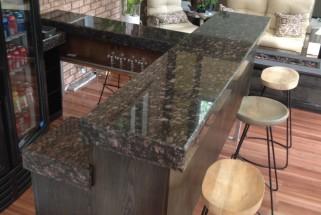 Tan Brown Granite Bar with Bevel Drop Edge