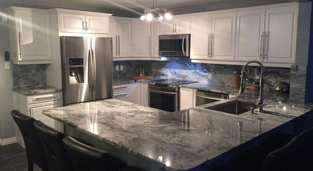 Silver Cloud Granite With Full Height Matching Backsplash Northern Marble Granitenorthern Marble Granite