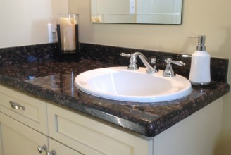 Tan Brown Vanity Top with Waterfall Edge Profile