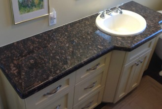 Tan Brown Vanity Tops with Waterfall Edge Profile